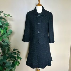 Ann Taylor Black Speckled Wool Skirt Suit 6 Petite